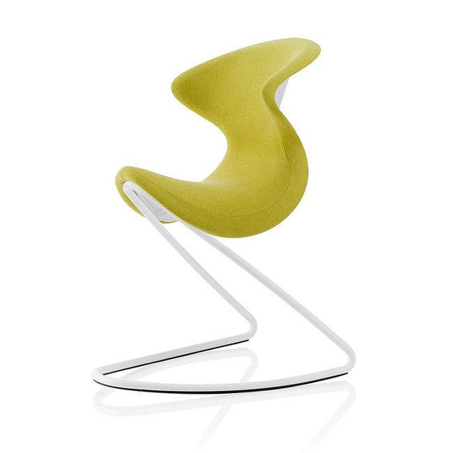 Chaise Design OYO A Legere Bascule Avec Revetement Feutre Couleur Curry Structure Acier De